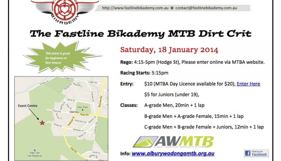 The Fastline Bikademy MTB Dirt Crit – Event Postponed
